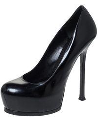 Saint Laurent Black Leather Tribtoo Platform Court Shoes