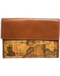 Alviero Martini 1A Classe Tan Geo Map Coated Canvas And Leather Multiple Pocket Flap Wallet - Brown