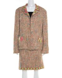 Chanel Vintage Multicolour Textured Tweed Jersey Lined Skirt Suit Xxl
