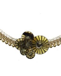 Marni Crystal Embellished Resin Flowers Gold Tone Chunky Chain Black Ribbon Self-tie Necklace - Metallic