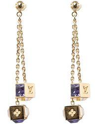 Louis Vuitton - Gamble Crystal Tone Long Earrings - Lyst