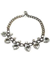 Lanvin - Crystal Embellished Silver Tone Necklace - Lyst