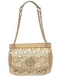 Tory Burch Gold Quilted Leather Marion Saddle Shoulder Bag - Metallic