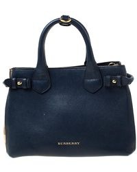Burberry Navy Blue Leather And House Check Fabric Small Banner Tote