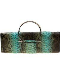 Ferragamo Multicolour Python Leather Ring Handle Clutch - Green