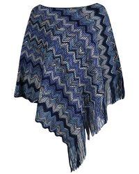 Missoni Navy Blue Chevron Pattern Chunky Knit Fringed Edge Poncho