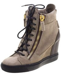Giuseppe Zanotti - Suede And Leather Hidden Wedge Trainers - Lyst