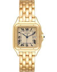 Cartier White 18k Yellow Gold Panthere W25014b9 Wristwatch 29 Mm