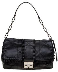 Dior Black Cannage Ruffle Leather New Lock Flap Bag
