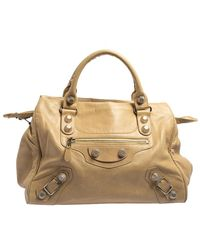 Balenciaga Beige Leather Giant 21 Motorcycle City Bag - Natural