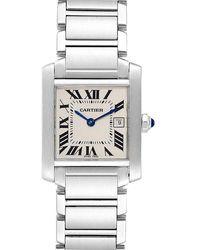 Cartier Silver Stainless Steel Tank Francaise W51011q3 Women's Wristwatch 25x30 Mm - Metallic