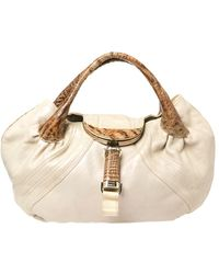 Fendi Light Beige Iridescent Textured Leather And Ostrich Spy Bag - Natural
