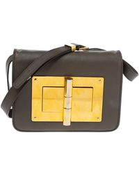 Tom Ford Khaki Leather Small Natalia Crossbody Bag - Green
