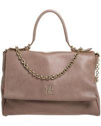 Carolina Herrera Light Brown Leather Minuetto Top Handle Bag