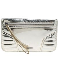 Burberry Gold Patent Leather Stafford Clutch - Metallic