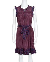 Marc By Marc Jacobs - Printed Silk Ruffled Trim Belted Dress Xs - Lyst