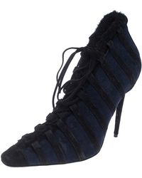 Manolo Blahnik Black/blue Suede And Faux Fur Lace Up Ankle Boots Size 39.5