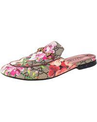 Gucci Multicolor GG Supreme Blooms Printed Canvas Princetown Horsebit Loafer Slides