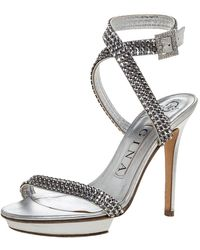 Gina Metallic Silver Crystal Embellished Leather Cross Ankle Strap Sandals