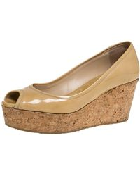 Jimmy Choo - Beige Patent Leather Cork Wedge Papina Pumps - Lyst