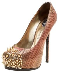 Philipp Plein Two Tone Python Leather Crystal And Spike Embellished Cap Toe Platform Court Shoes - Natural