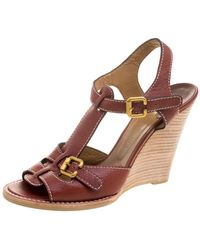 Chloé Brown Leather Wooden Wedge Sandals