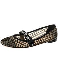 Dior Black Mesh Miss J'a Round Toe Flats