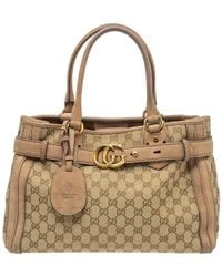 Gucci Beige/brown GG Canvas And Nubuck Medium Running Tote - Natural