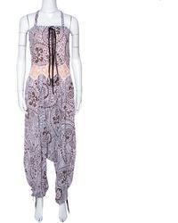 Chloé Purple & Brown Floral Print Crepe Jumpsuit