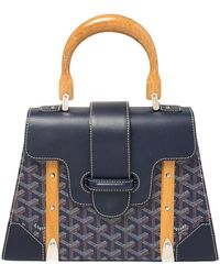 Goyard Navy Blue Ine Coated Canvas And Leather Pm Saigon Top Handle Bag