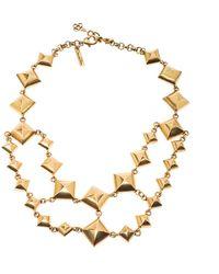 Oscar de la Renta Gold Tone Square Chain Link Necklace - Metallic