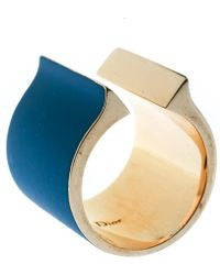 Dior Blue Gum Tee Shirt Gold Tone Open Wide Band Ring Size 56