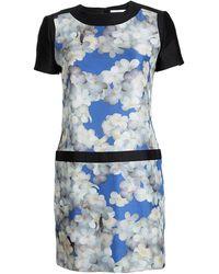 Victoria, Victoria Beckham Multicolor Floral Printed Silk Short Sleeve Dress - Blue