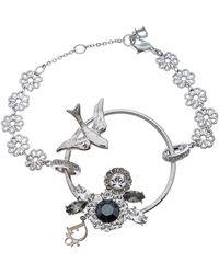 Dior Silver Tone Crystal Embellished Swallow Charm Bracelet - Metallic