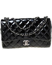 Chanel - Black Quilted Patent Leather Jumbo Classic Single Flap Bag - Lyst
