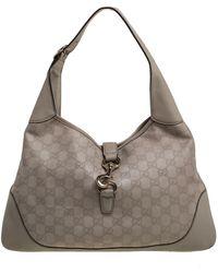 Gucci Beige Ssima Leather Jackie O Hobo - Natural