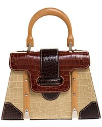 Goyard Tri Colour Crocodile Saigon Pm Top Handle Bag - Brown