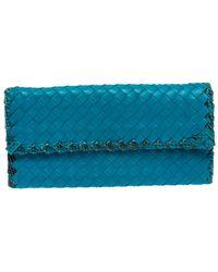 Bottega Veneta Blue Leather And Snakeskin Trim Flap Wallet