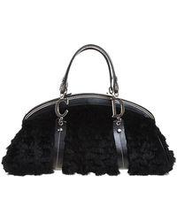 Dior Black Fur And Leather Frame Satchel