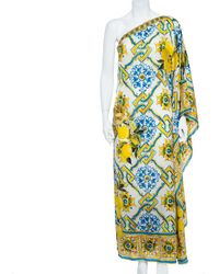 Dolce & Gabbana Yellow Majolica And Lemon Print Silk Blend One Shoulder Gown