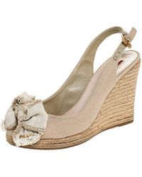 Prada Beige Canvas Bow Peep Toe Espadrille Wedge Court Shoes - Natural