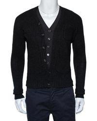 DSquared² Dark Gray Wool & Cashmere Waist Coat Inset Detail Cardigan