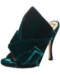 N°21 Dark Green Velvet Knot Mules