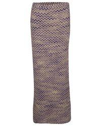 Missoni Beige Chevron Pattern Wool Maxi Skirt - Natural