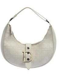 Dior White Cannage Leather D Flap Half Moon Hobo