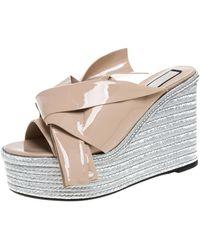 N°21 Beige Patent Leather Knotted Espadrille Wedge Platform Sandals - Natural