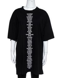 Vetements Black Cotton Jersey Translation Print Oversized T-shirt