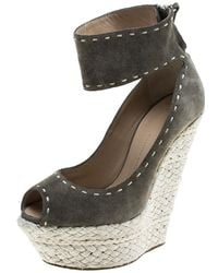 Giuseppe Zanotti - Olive Suede Espadrille Wedge Sandals - Lyst