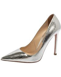 Prada Metallic Silver Python Embossed Leather Pointed Toe Court Shoes