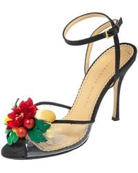 Charlotte Olympia Black Canvas Trims And Pvc Tropicana Ankle Strap Sandals